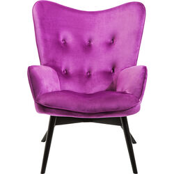 Armchair Black Vicky Velvet Purple