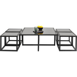 Coffee Table Quad Black 80x80cm (5/Set)