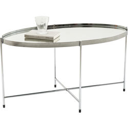 Coffee Table Miami Oval Silver 83x40cm