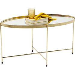 Coffee Table Miami Oval Brass 83x40cm