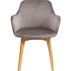 Sedia con braccioli Lady velluto grigio