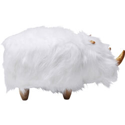 Stool Rhino Fur White
