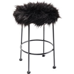 Stool Ontario Fur Black Ø30cm