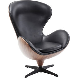 Swivel Armchair Lounge Black Walnut