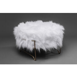 Stool Cottage White Fur Brass  Ø55cm