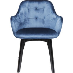 Chair with Armrest Black Lady Velvet Blue