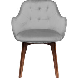 Chair with Armrest Lady-Stitch Velvet Grey