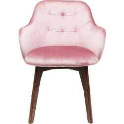 Chair with Armrest Dark Lady Velvet Mauve