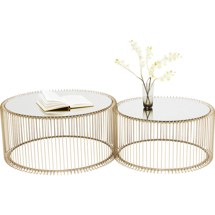table basse wire laiton 2 set kare design. Black Bedroom Furniture Sets. Home Design Ideas
