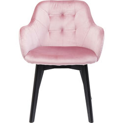 Chair with Armrest Black Lady Velvet Mauve
