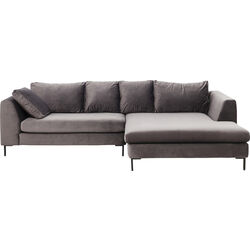 Corner Sofa Gianni Velvet Grey Right black