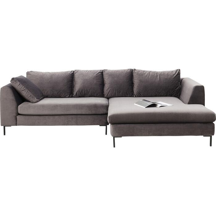 corner sofa black gianna velvet grey right kare design. Black Bedroom Furniture Sets. Home Design Ideas