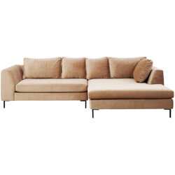 Corner Sofa Black Gianna Velvet Champagne Right
