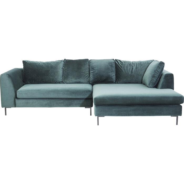 Corner Sofa Gianni Velvet Green Right black - KARE Design