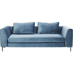 Sofa Black Gianna Velvet Bluegreen 3-seater