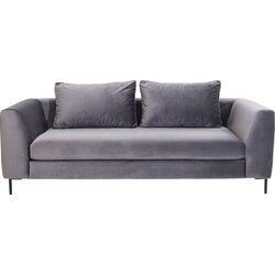 Sofa Black Gianna Velvet Grey 3-seater