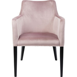 Chair with Armrest Black Mode Velvet Mauve