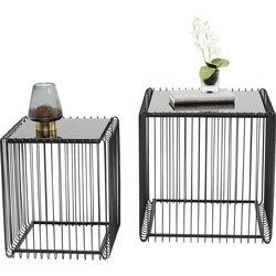 Side Table Wire Square Black (2/Set)