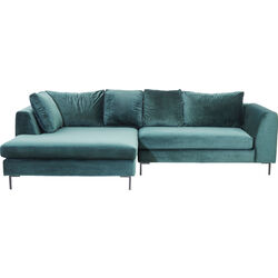 Corner Sofa Black Gianna Velvet Green Left