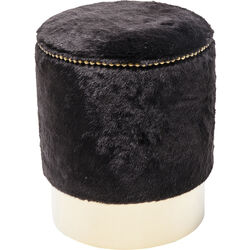 Stool Cherry Fur Black Brass Ø35cm