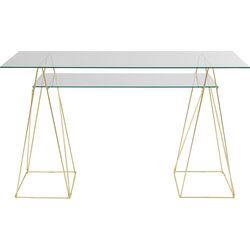 Table Polar Brass Matt 8mm Tempered Glass