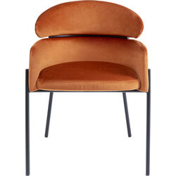 Chair with Armrest Alexia Velvet Orange