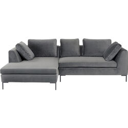 Corner Sofa Gianni Small Velvet Grey Left