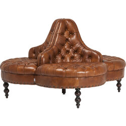 K&F Rounded Sofa Saloon Brown